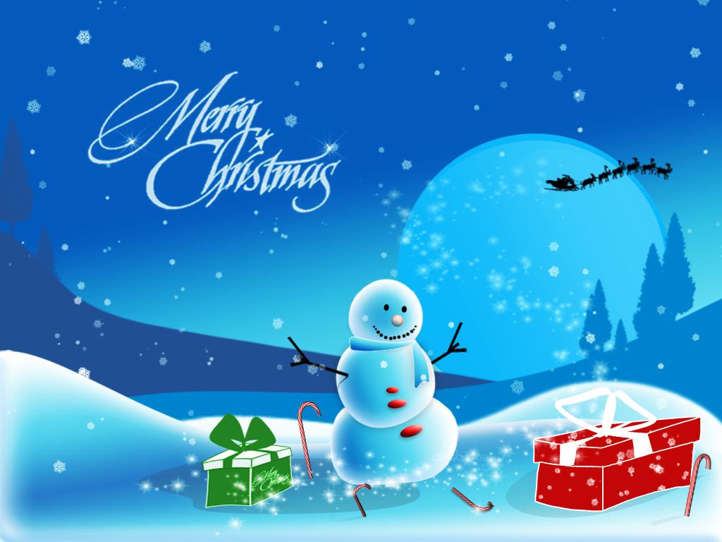 снежен човек и коледни подаръци