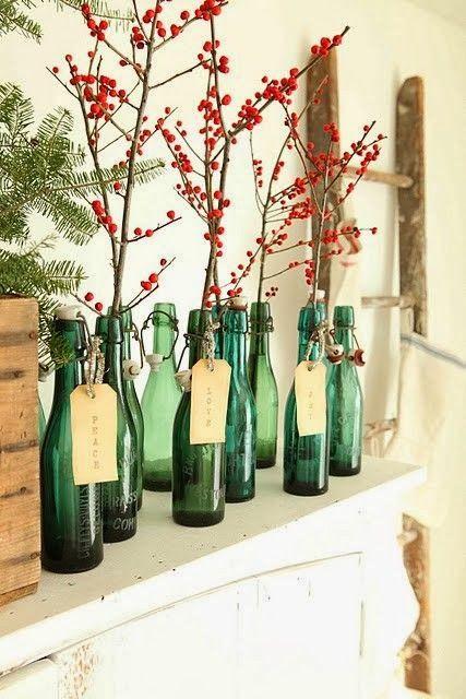 Коледна украса за маса с бутилки
