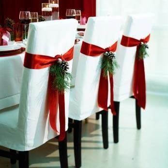 Коледна украса за маса със столове