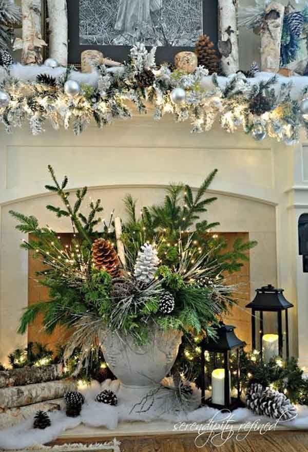 Коледна украса за маса с клони