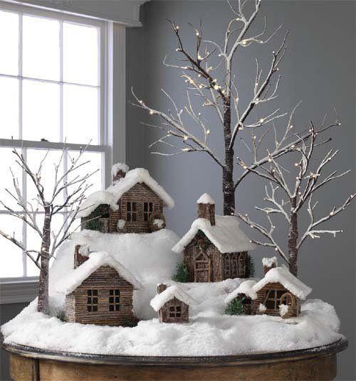 Коледна украса за къщата малки коледни къщи